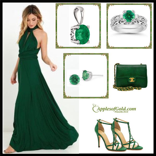Green Dress Gold Jewelry