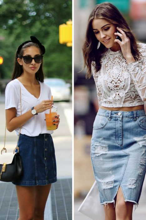 7e628075981e Amazing Denim Skirts Outfit Ideas 2019 - OnlyWardrobe.com