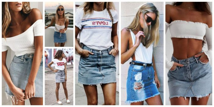 Amazing Denim Skirts Outfit Ideas 2019