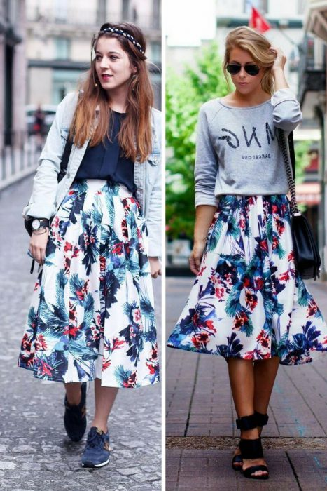 35 Ways To Style Floral Midi Skirts 2019