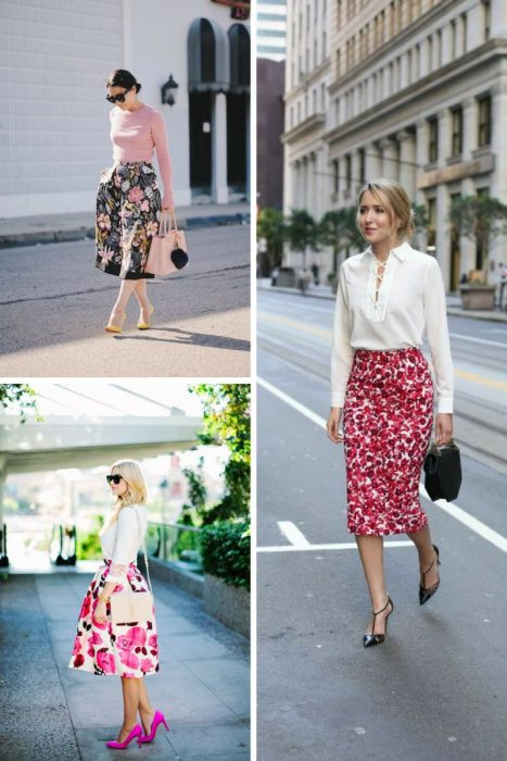 Floral Midi Skirts Outfits 2018 (10)