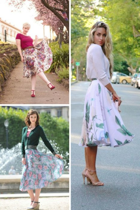 Floral Midi Skirts Outfits 2018 (2)