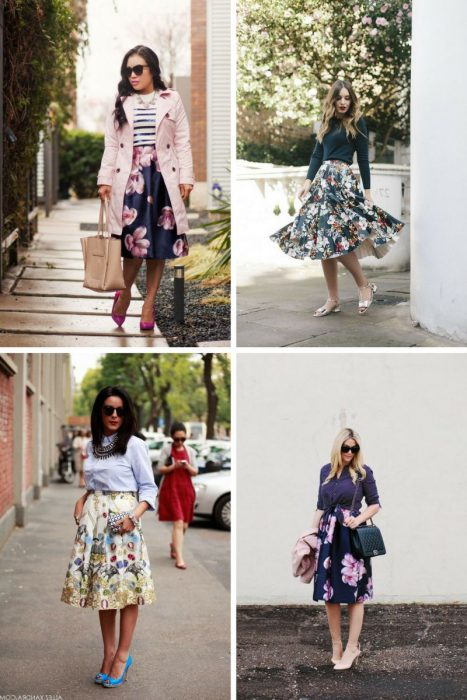 Floral Midi Skirts Outfits 2018 (4)