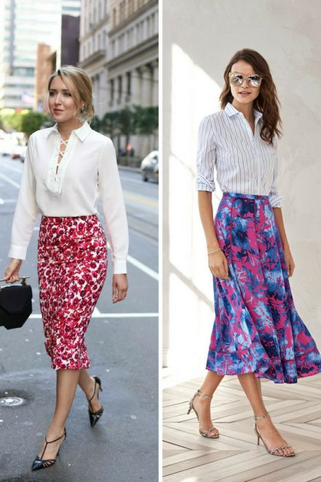 Floral Midi Skirts Outfits 2018 (5)