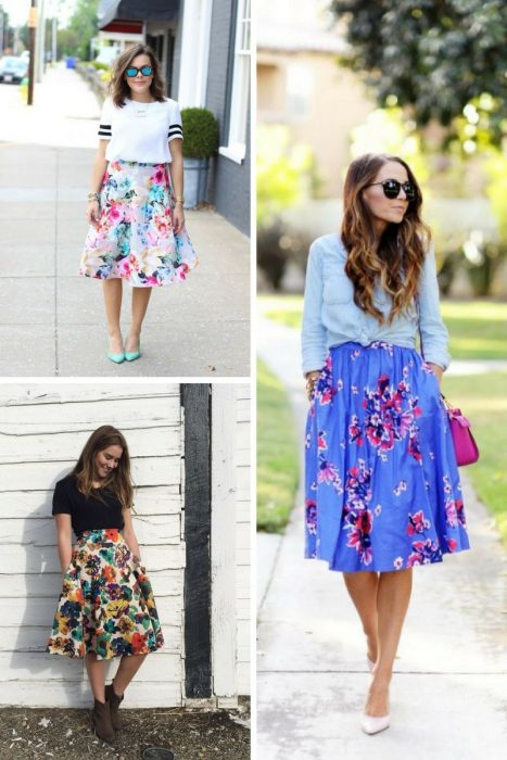 Floral Midi Skirts Outfits 2018 (6)