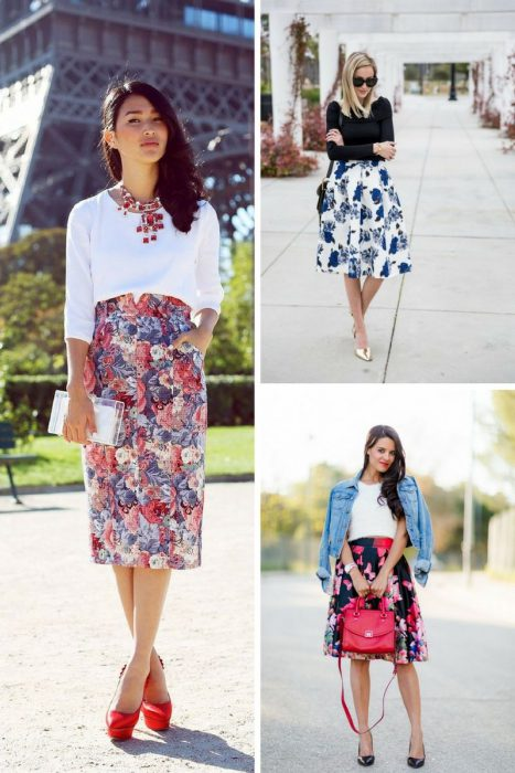 Floral Midi Skirts Outfits 2018 (7)