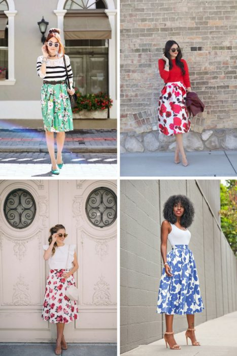 Floral Midi Skirts Outfits 2018 (8)