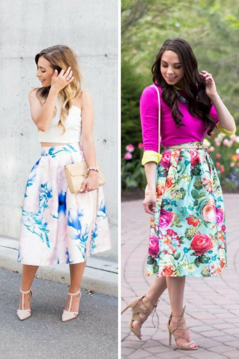 Floral Midi Skirts Outfits 2018 (9)