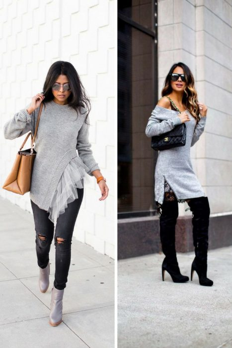 Grey Sweater Outfits 2018 (9)