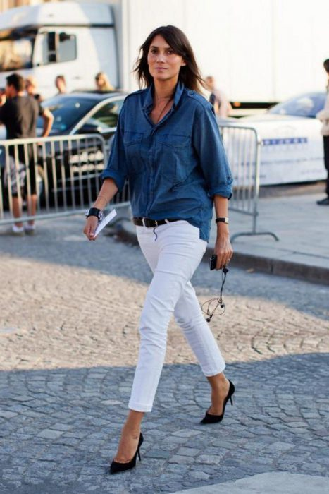 White Jeans Outfit Ideas For Women 2018 Street Style (3)