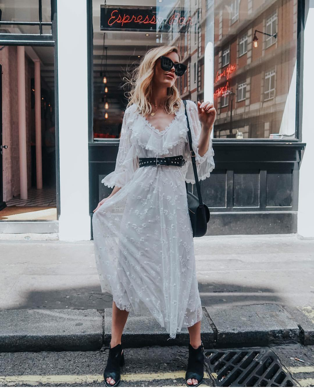 White Boho Peasant Semi-Sheer Long Dress For Summer 2020