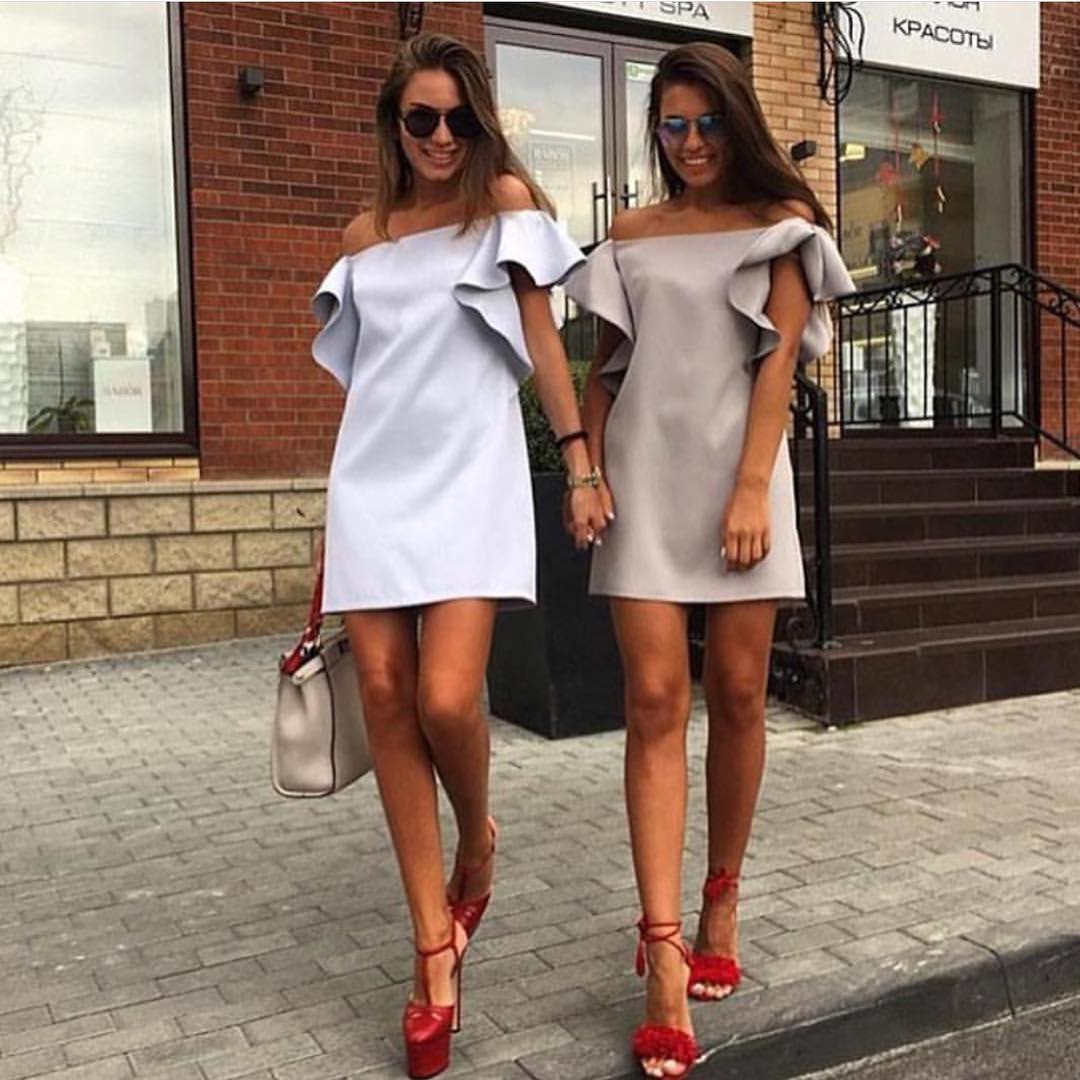 Off Shoulder Shift Dresses With Ruffles For Summer Parties 2019