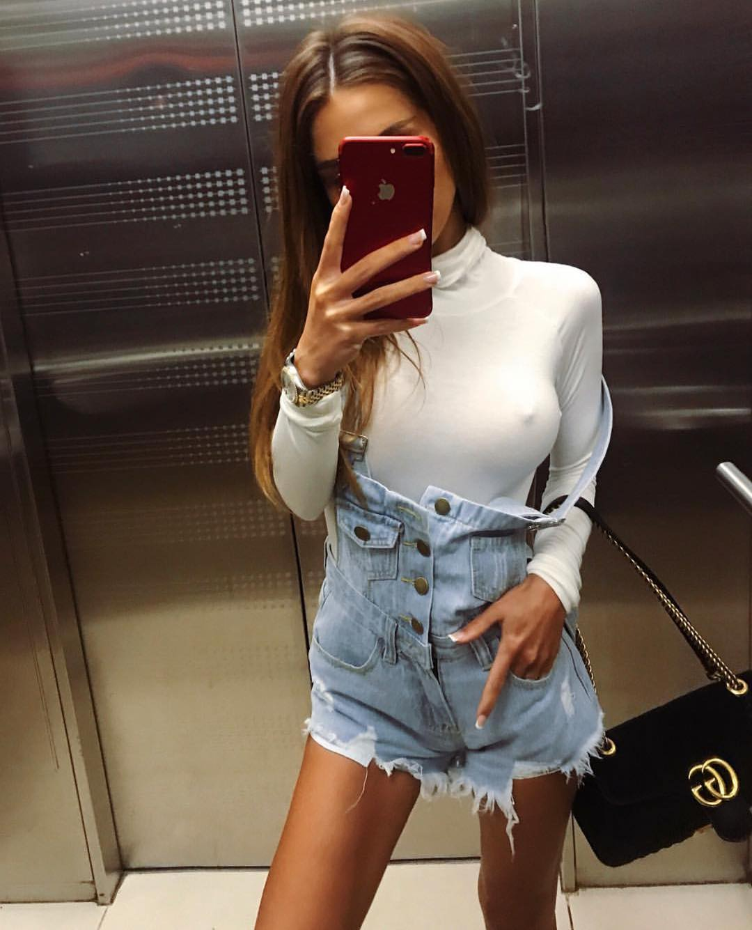 How To Wear White Turtleneck With Denim Overall Shorts This Summer 2019