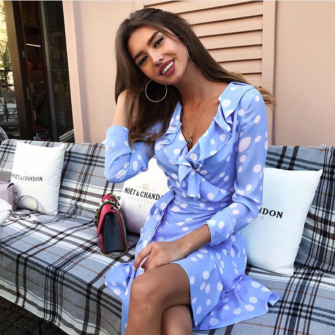 How To Style Light Blue Wrap Dresses In White Polka Dots This Summer 2019