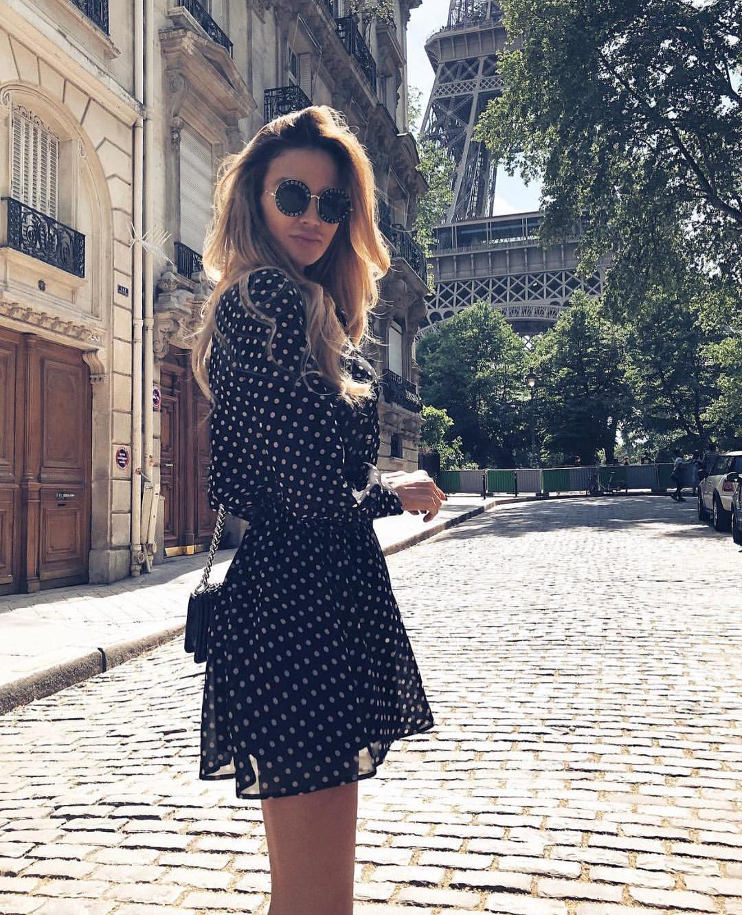 Dotted Black Dress To Wear In Paris This Summer 2021