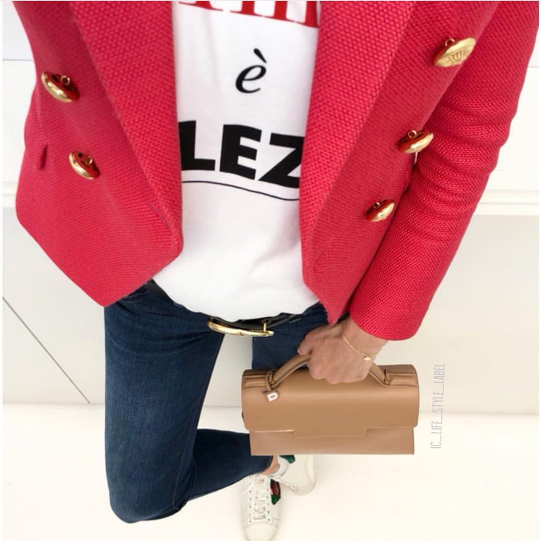 How To Wear Hot Pink Blazer With Gold Buttons This Spring 2019