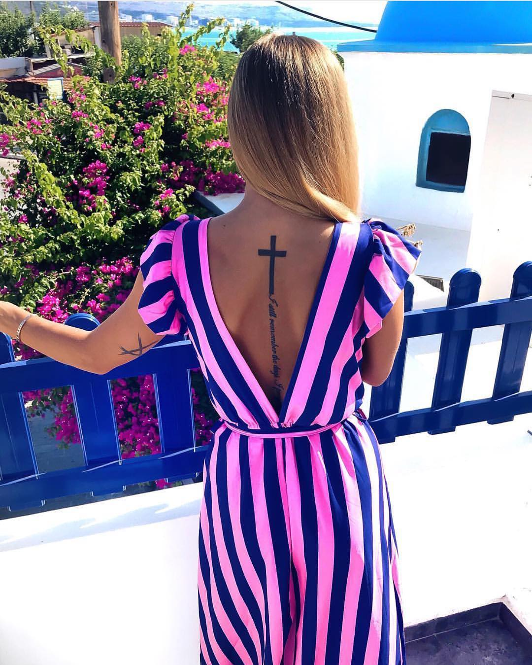 Pink Blue Striped Jumpsuit For Summer Vacation 2020