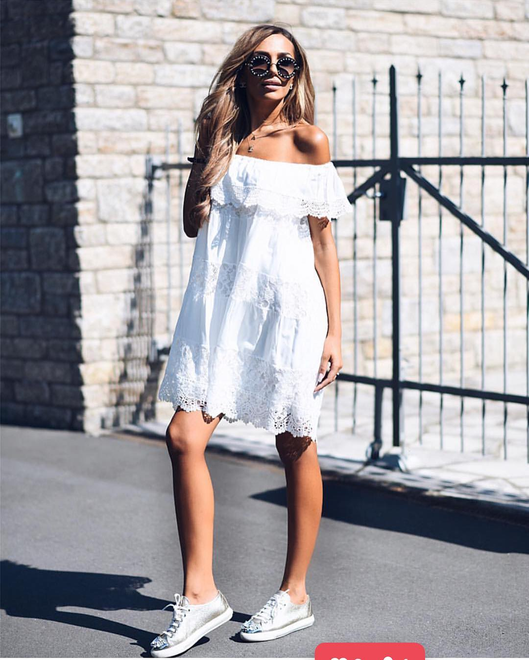 Off Shoulder White Crochet Dress And Silver Sneakers For Summer 2020