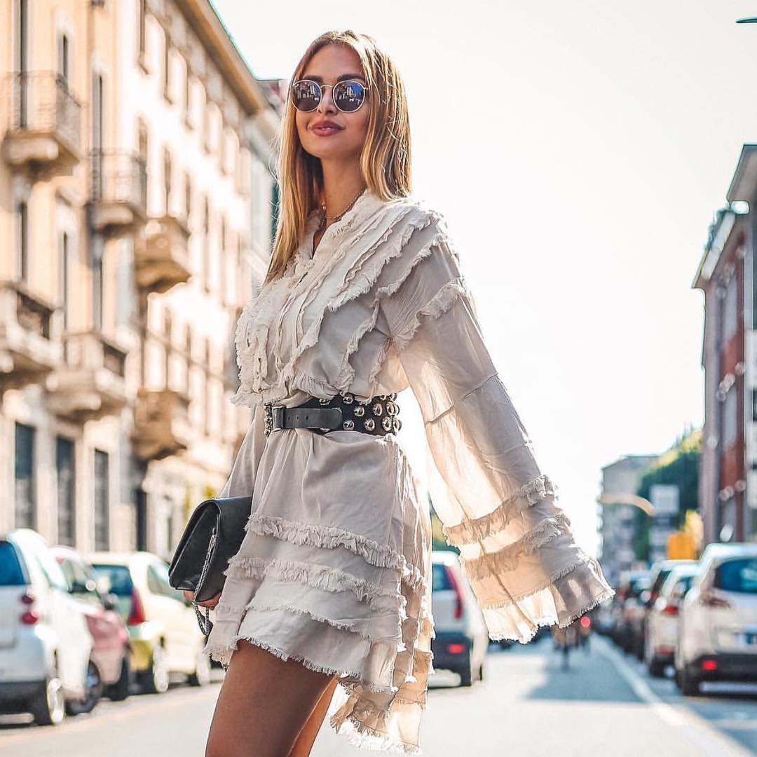 How To Wear Pastel Grey Ruffled Dress In Summer 2020