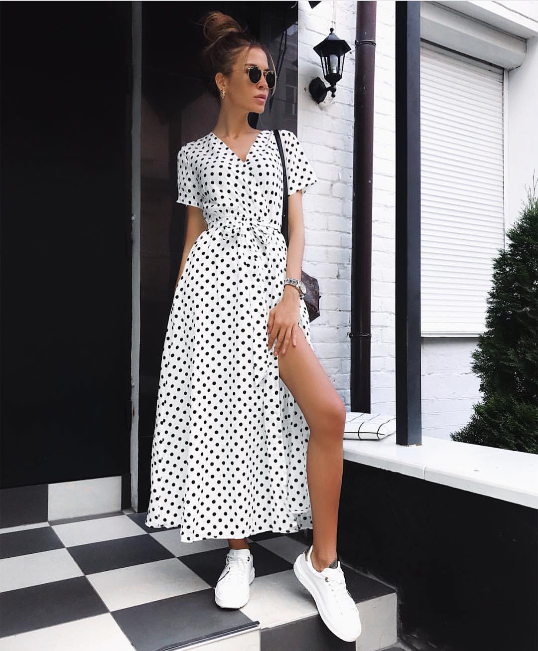 How To Update White Wrap Midi Dress In Black Polka Dots This Summer 2020