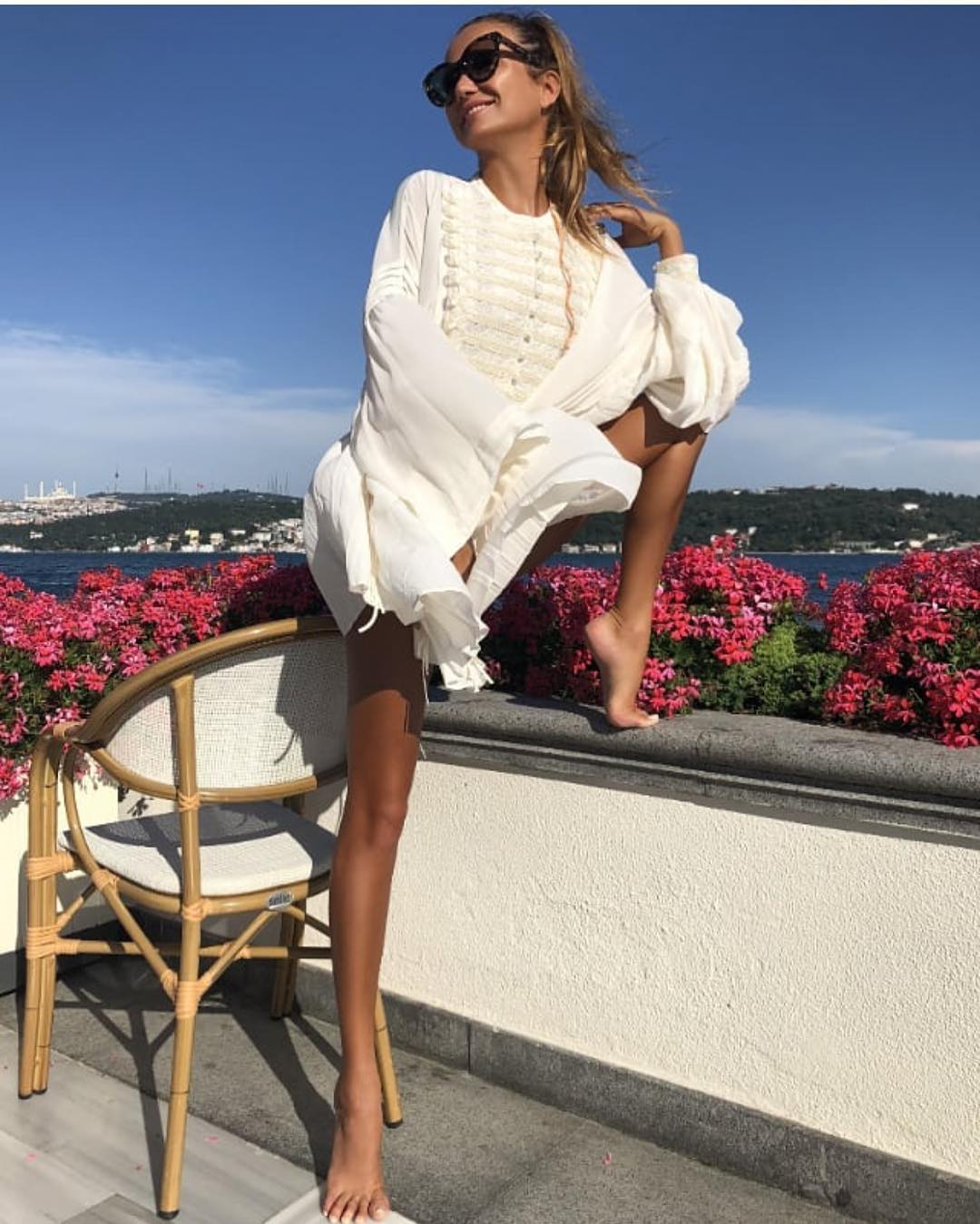 Band Style White Dress For Summer Vacation 2020