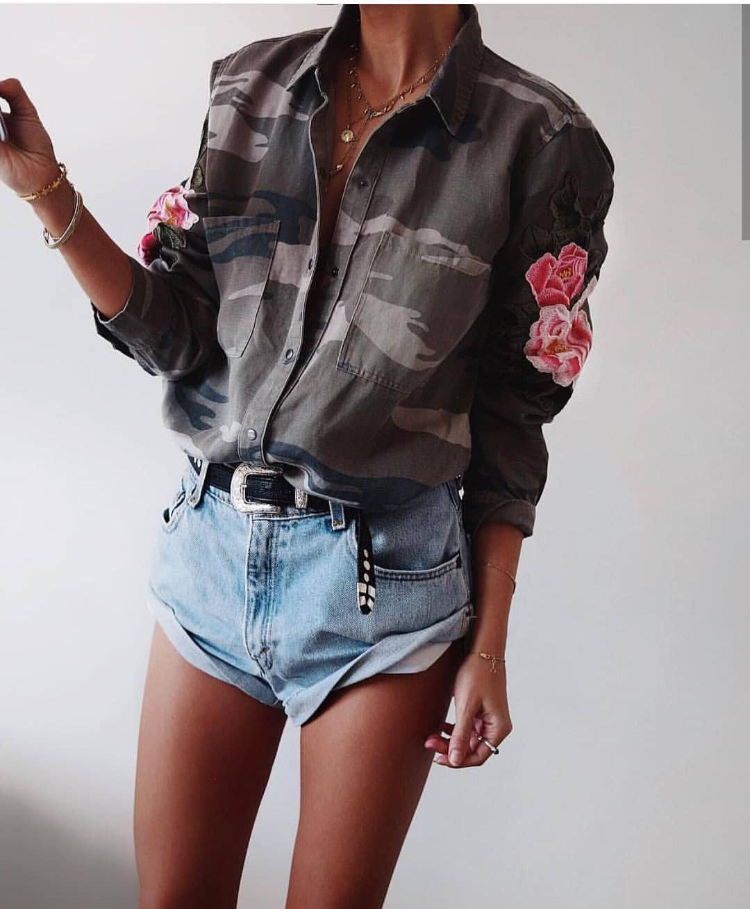 Camouflage Print Shirt With Rose Print Embroidery: Must Try Summer 2019