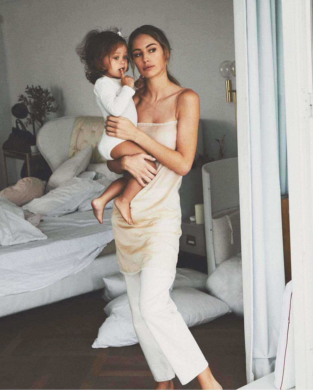 Long Slip Top And White Flared Pants For Homewear 2020