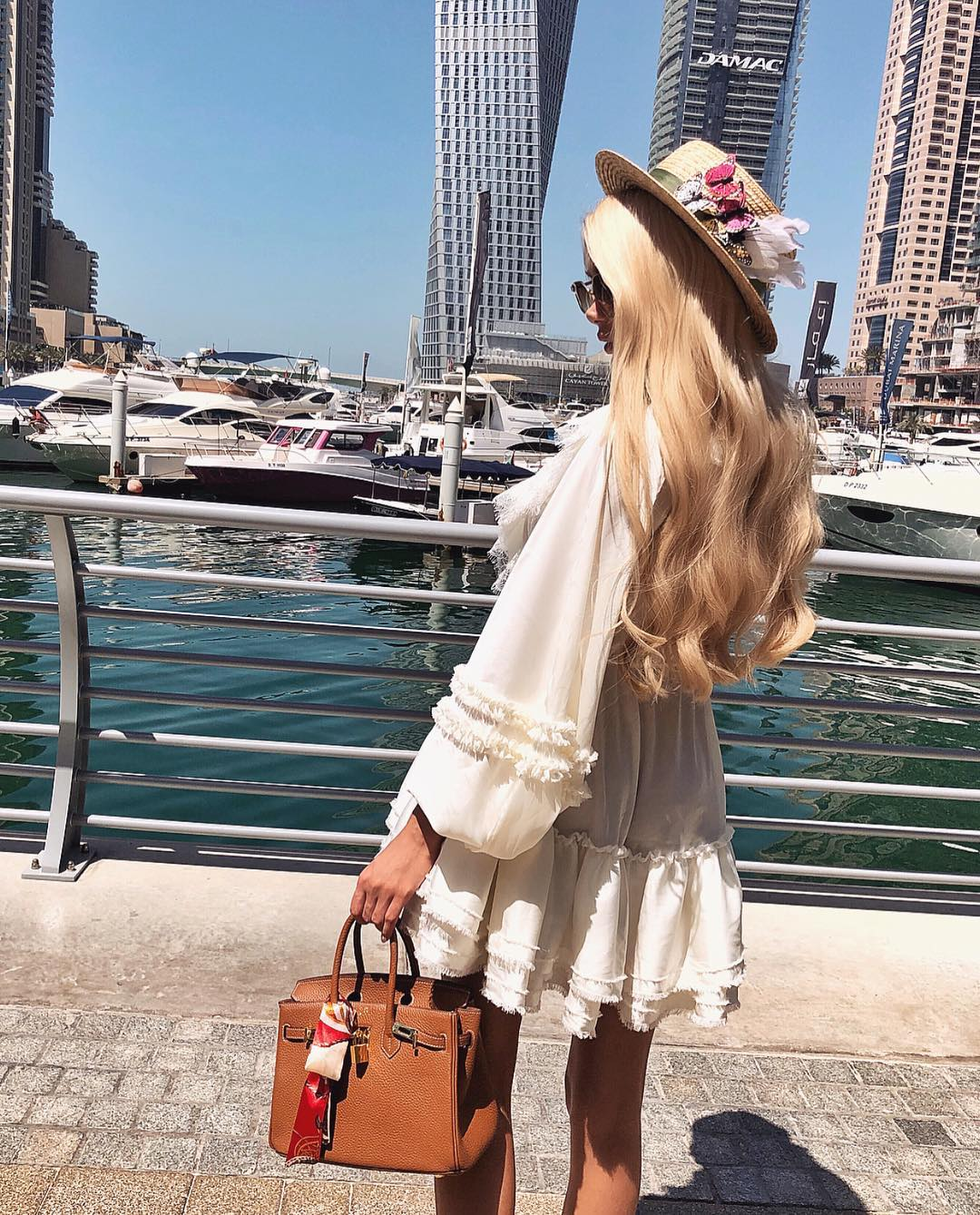 White Peasant Dress With Wide Sleeves For Summer Boat Trips 2019