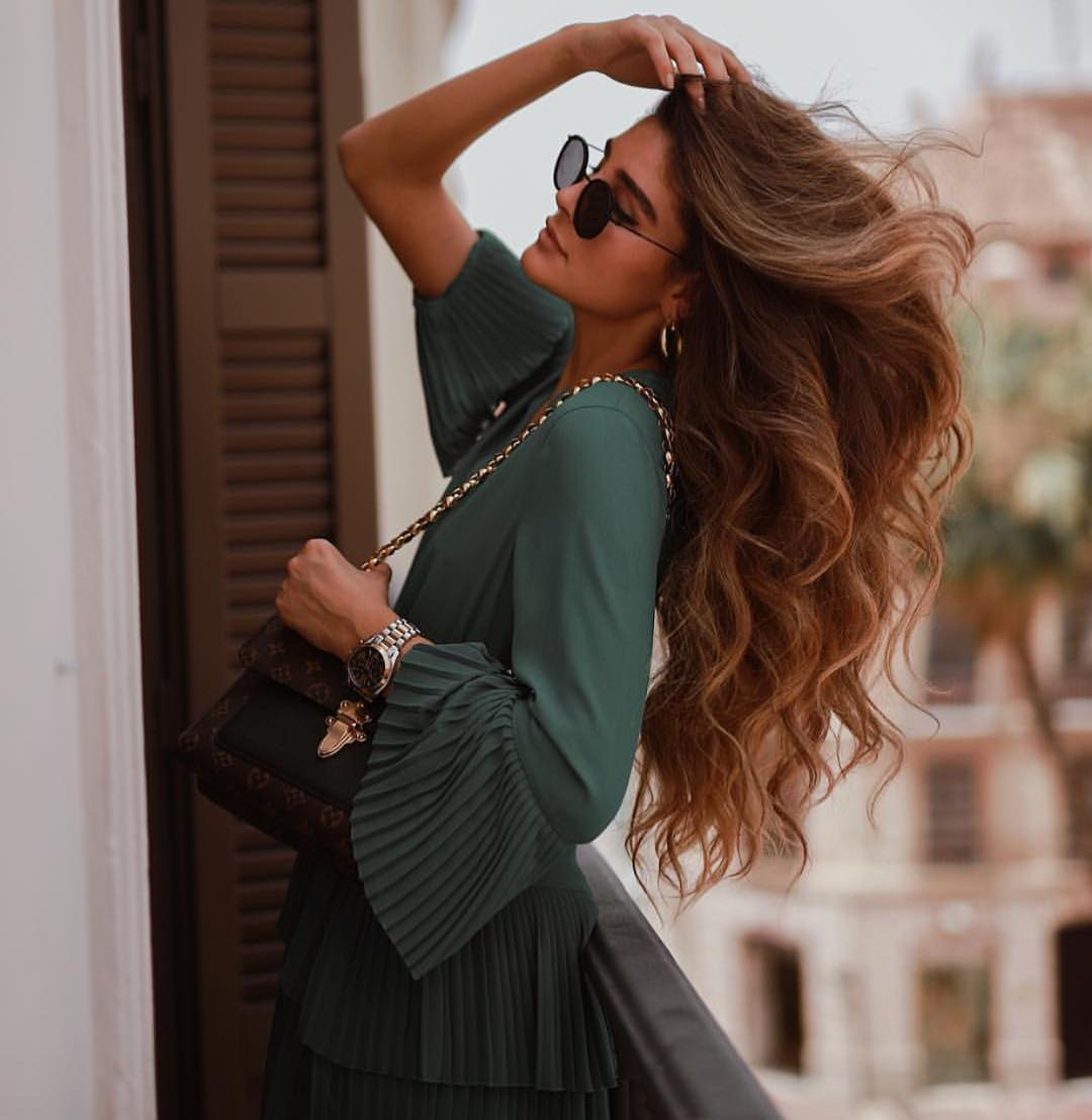 Muted Green Dress With Knife-Pleated Details For Summer 2019