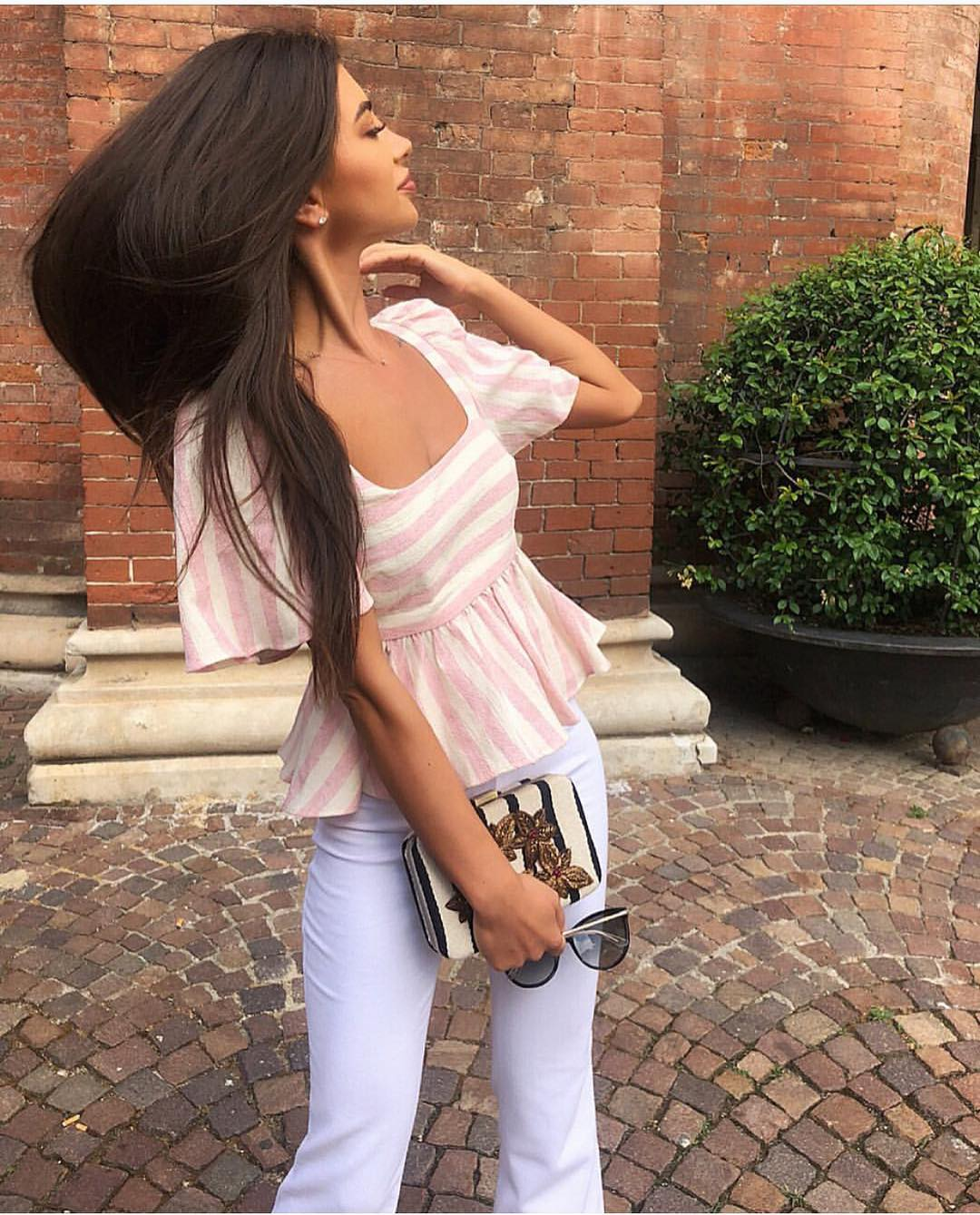 How To Wear Pink-White Striped Blouse With Peplum Hem This Summer 2021