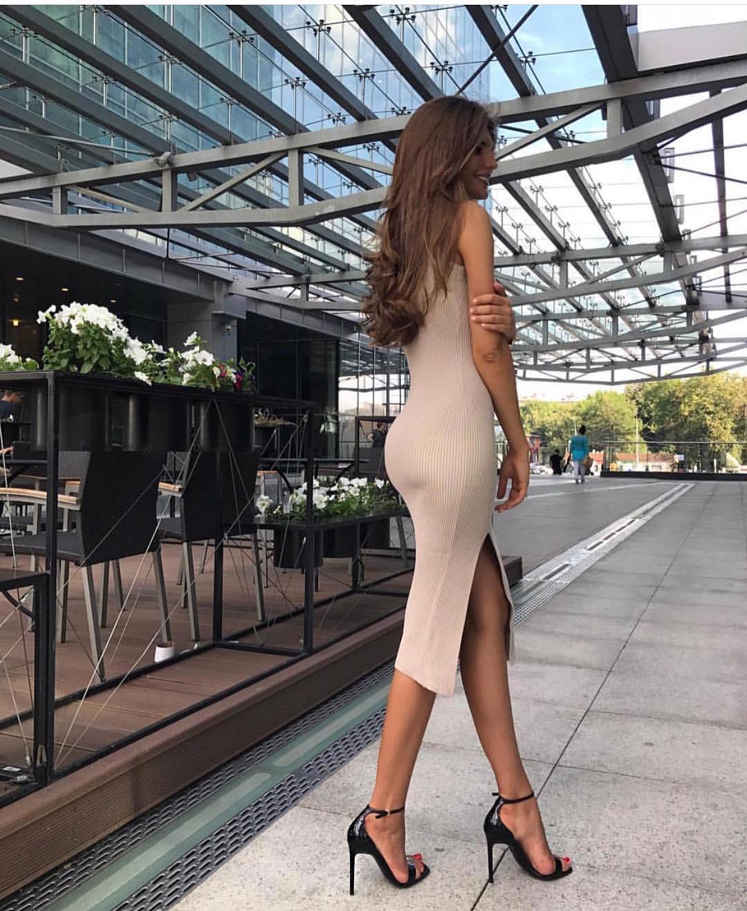 Skintight Knitted Beige Dress For Summer 2020