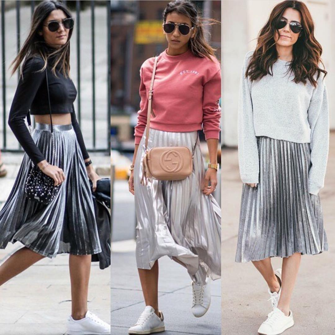 How To Wear Knife Pleated Midi Skirt In Silver Metallic This Spring 2020