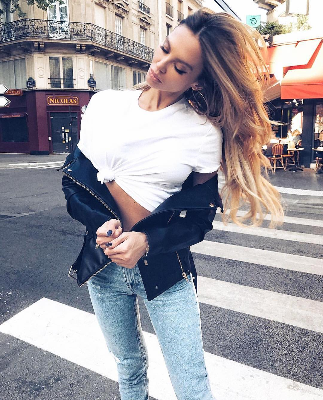 Get Inspired By This Grunge Style Summer Look With Black Leather Jacket 2019