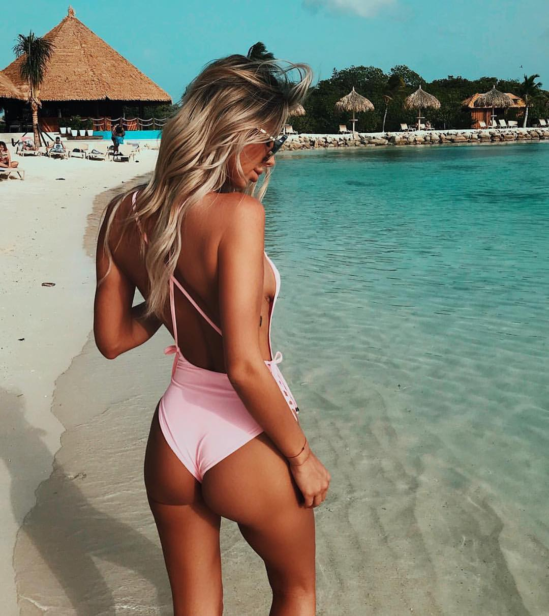 Light Pink One Piece Open Back Swimsuit With Skinny Straps 2019