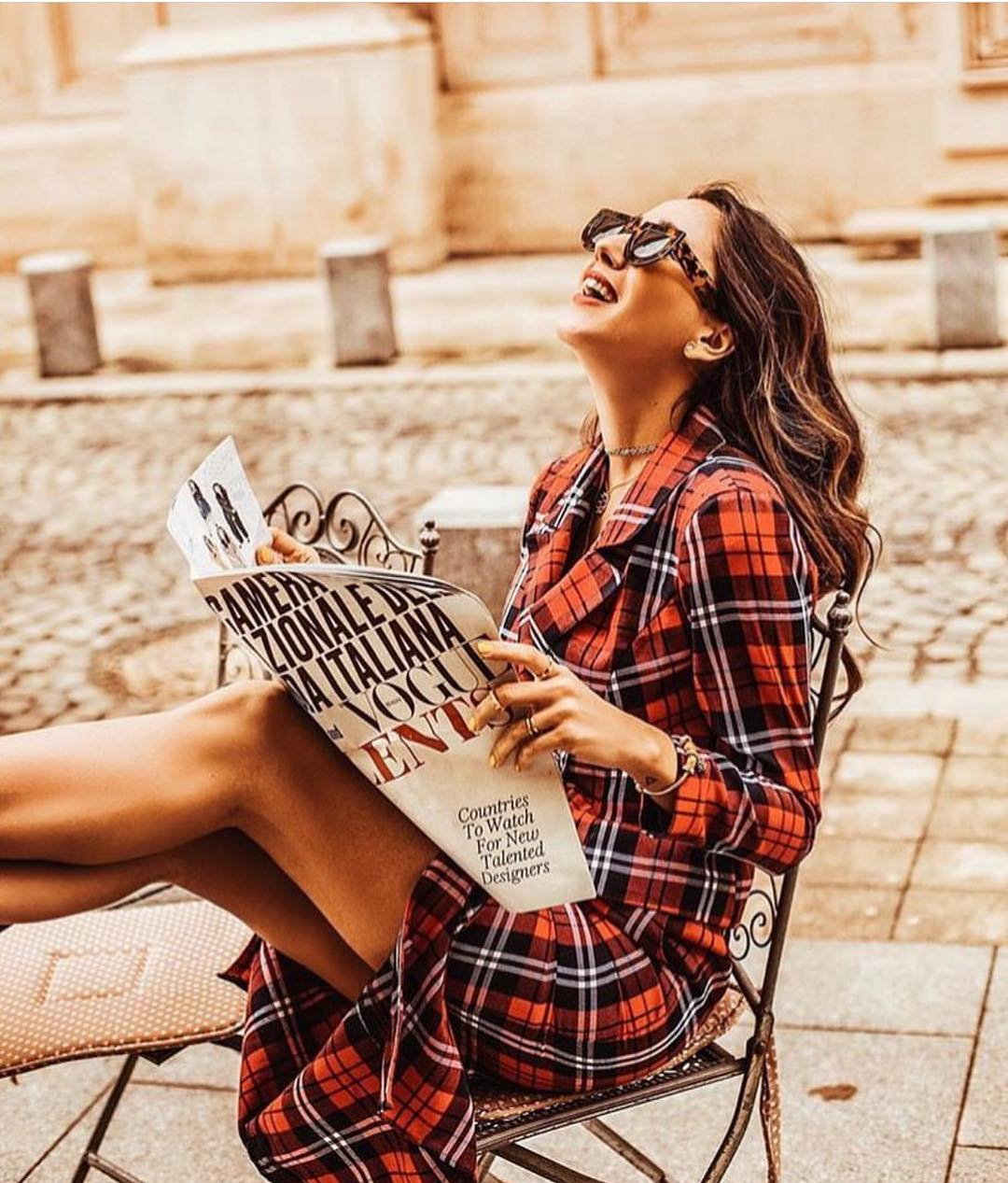 Parisian Style Outfit: Plaid Print Coatdress For Spring 2019