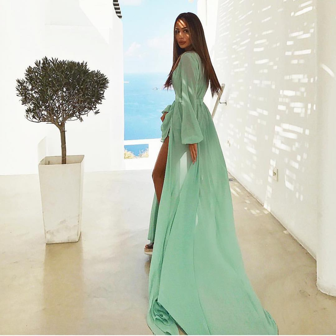 Floor Sweeping Green Turquoise Maxi Dress For Summer Vacation 2020