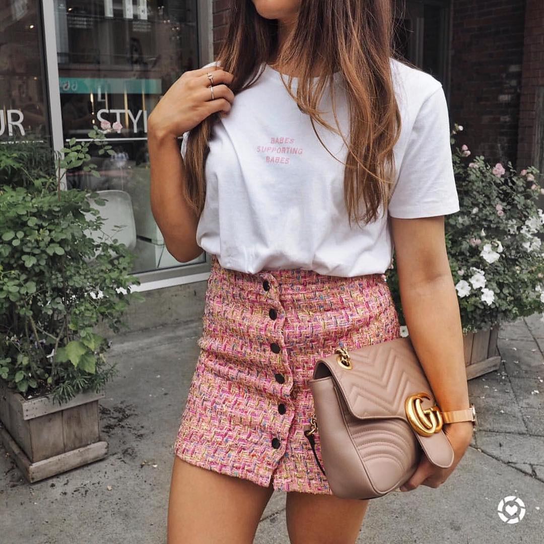 Pink Tweed Button Front Skirt And White T-Shirt For Summer 2019