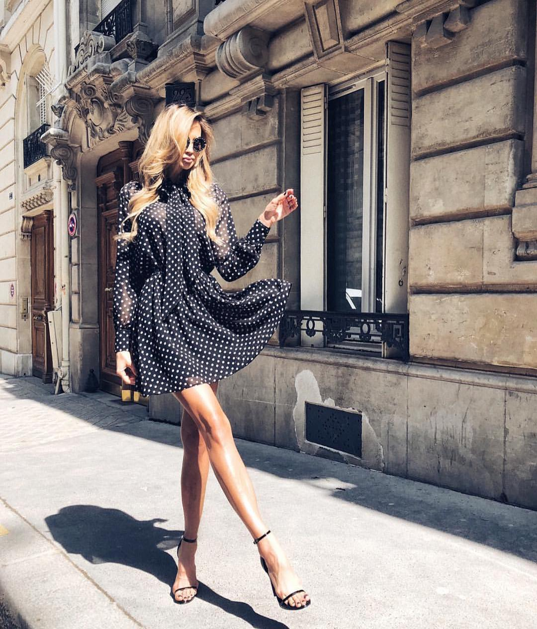 Black Semi-Sheer Blouse Dress In White Dots For Parisian Chic Summer 2020