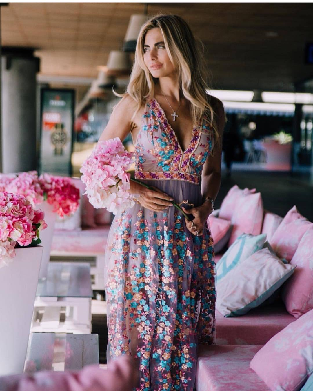 Pastel Purple Semi-Sheer Dress In Embroidered Florals For Summer Vacation 2020