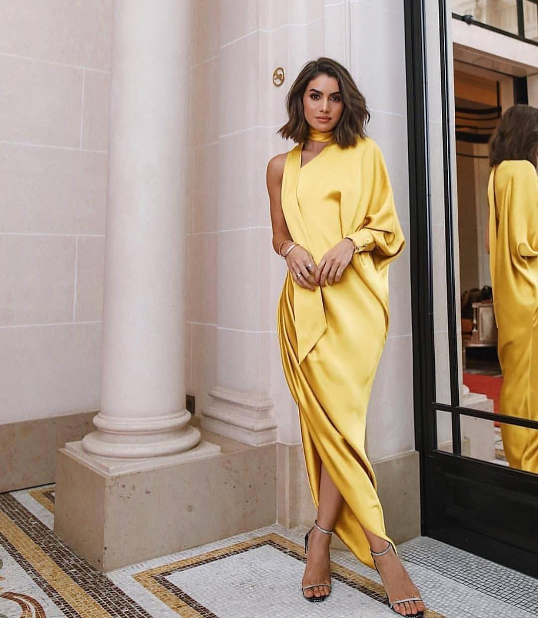 Gold Yellow Silk Long One Shoulder Dress For Special Occasions 2019