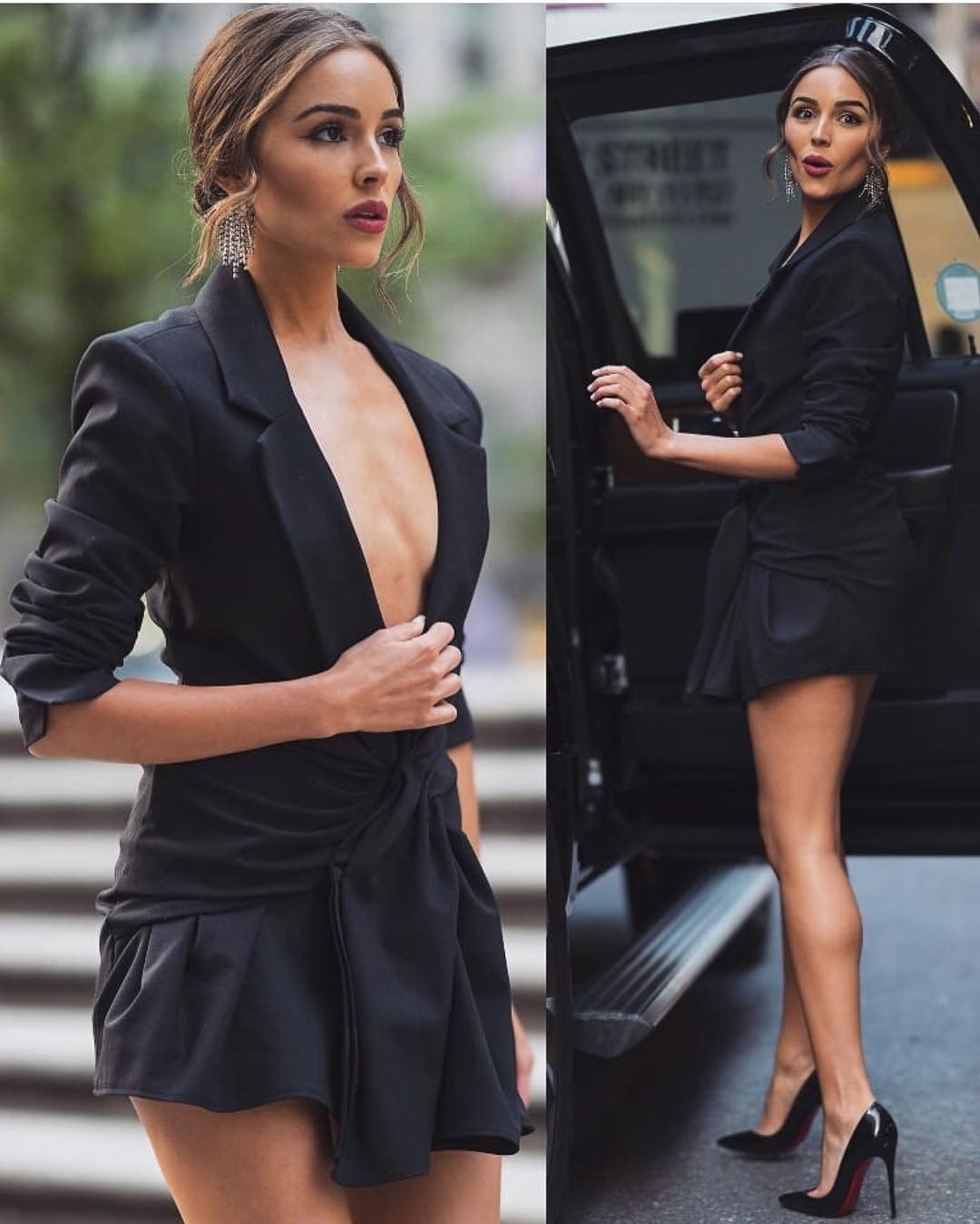 Black Gathered Blazer Dress For Cocktail Party 2019
