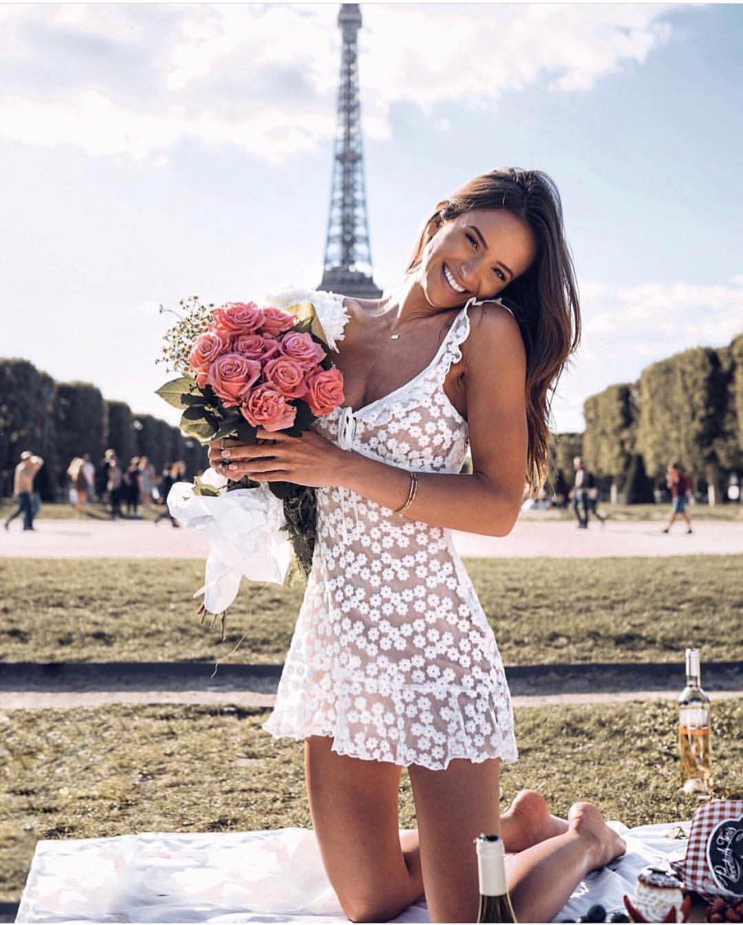 White Semi-Sheer Dress In Floral Lace For Parisian Chic Ladies 2020