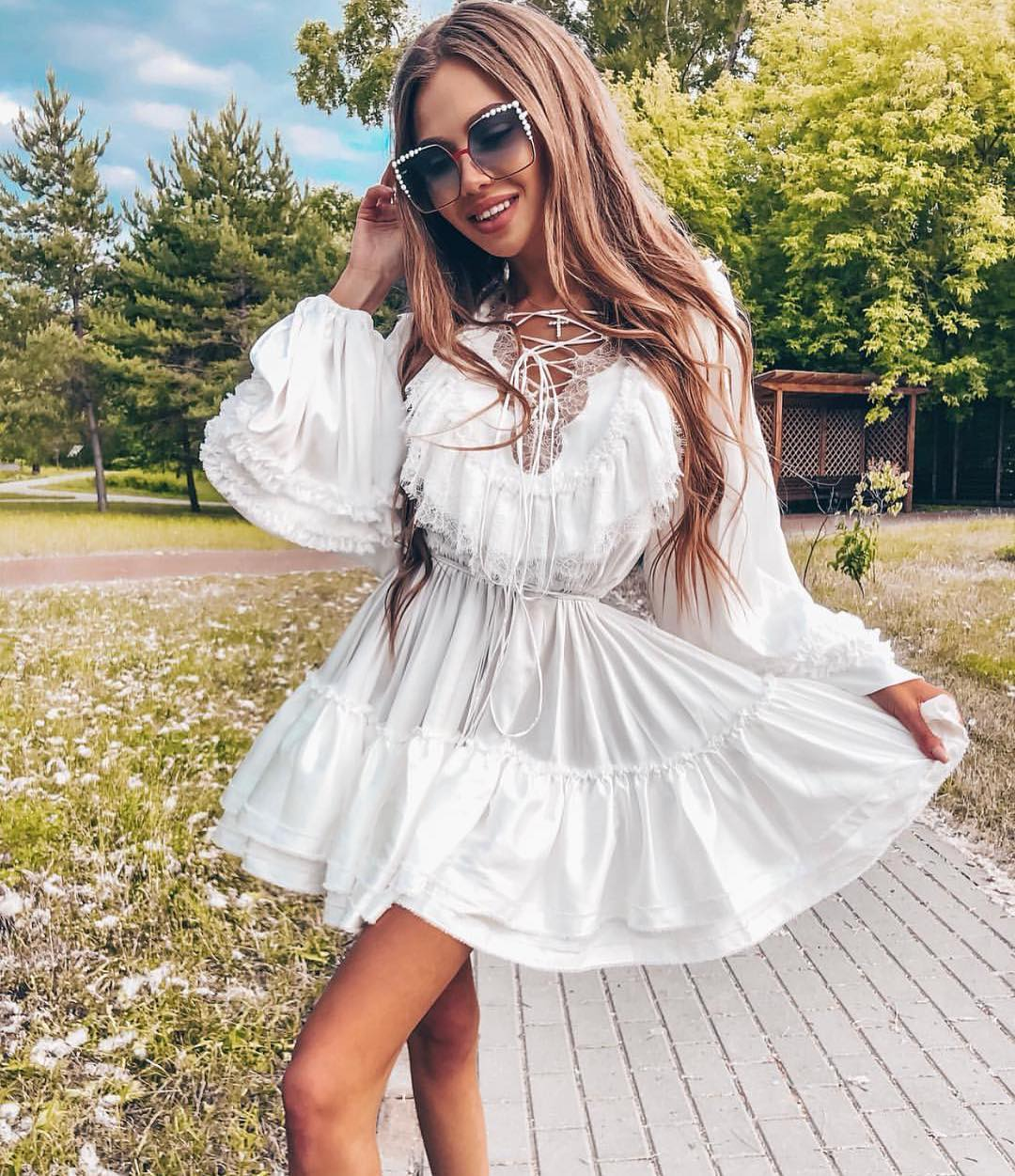 White Dress With Ruffles And Lace Up Neck For Summer 2020