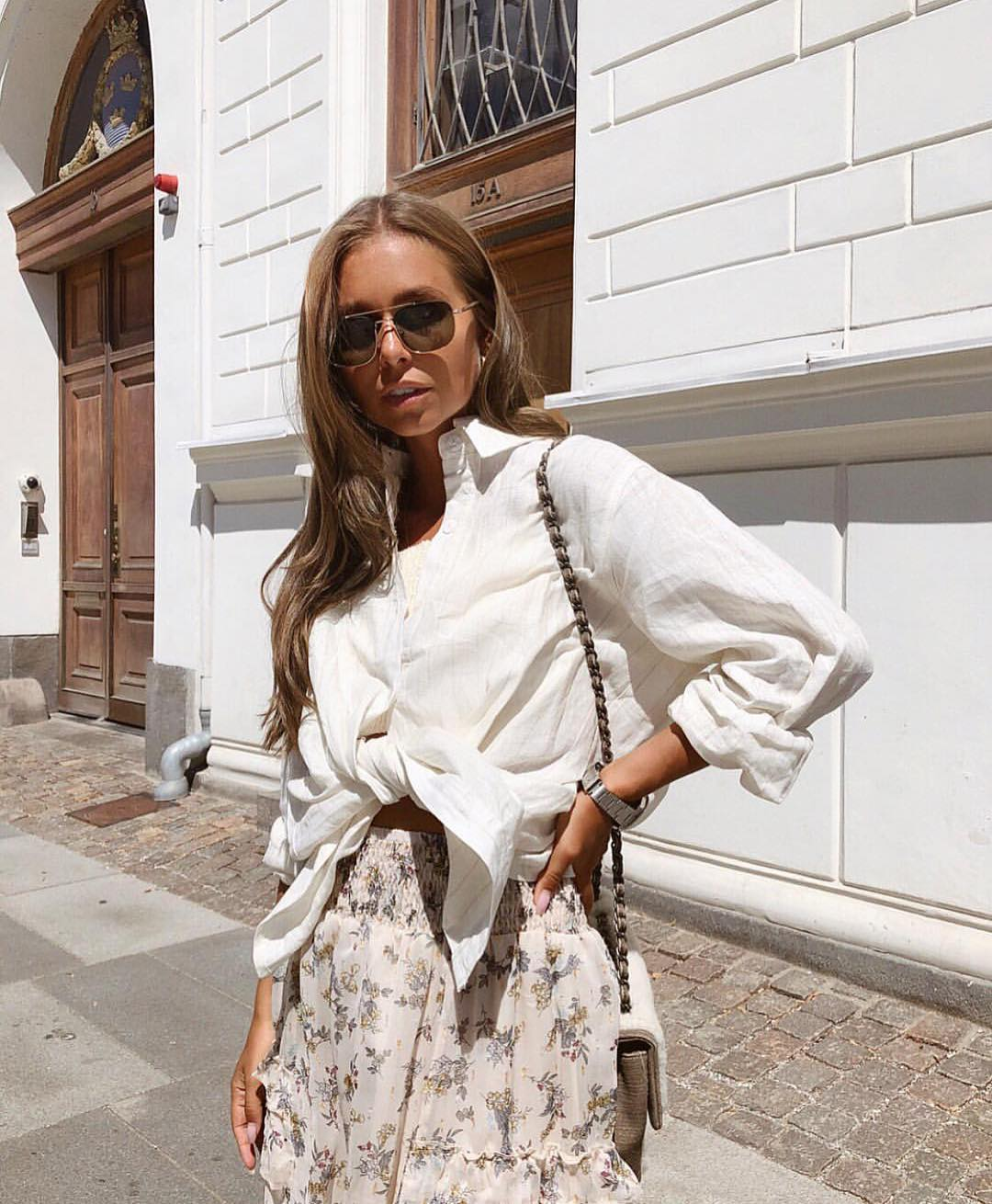 White Linen Front Tied Shirt And High Rise Floral Skirt For Summer 2020