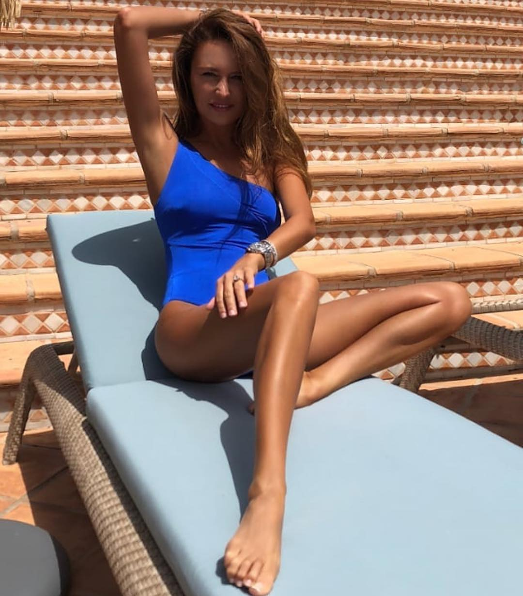 One Shoulder Swimsuit In Bright Blue Color For Summer Vacation 2020