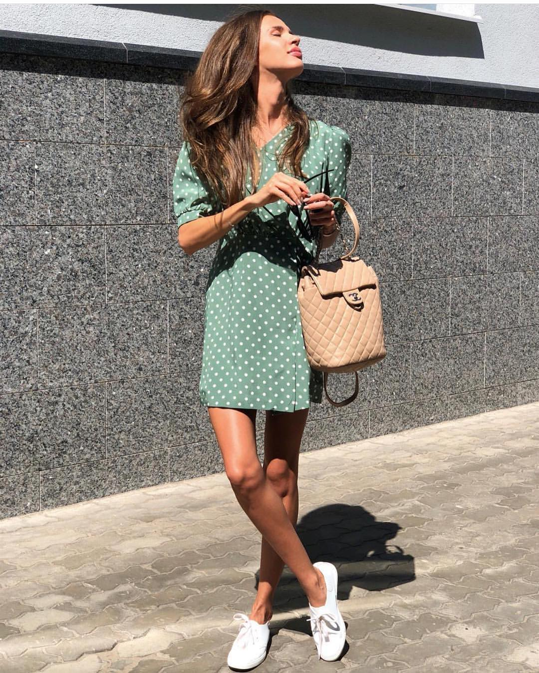 Green Dress In White Dots For Summer 2019
