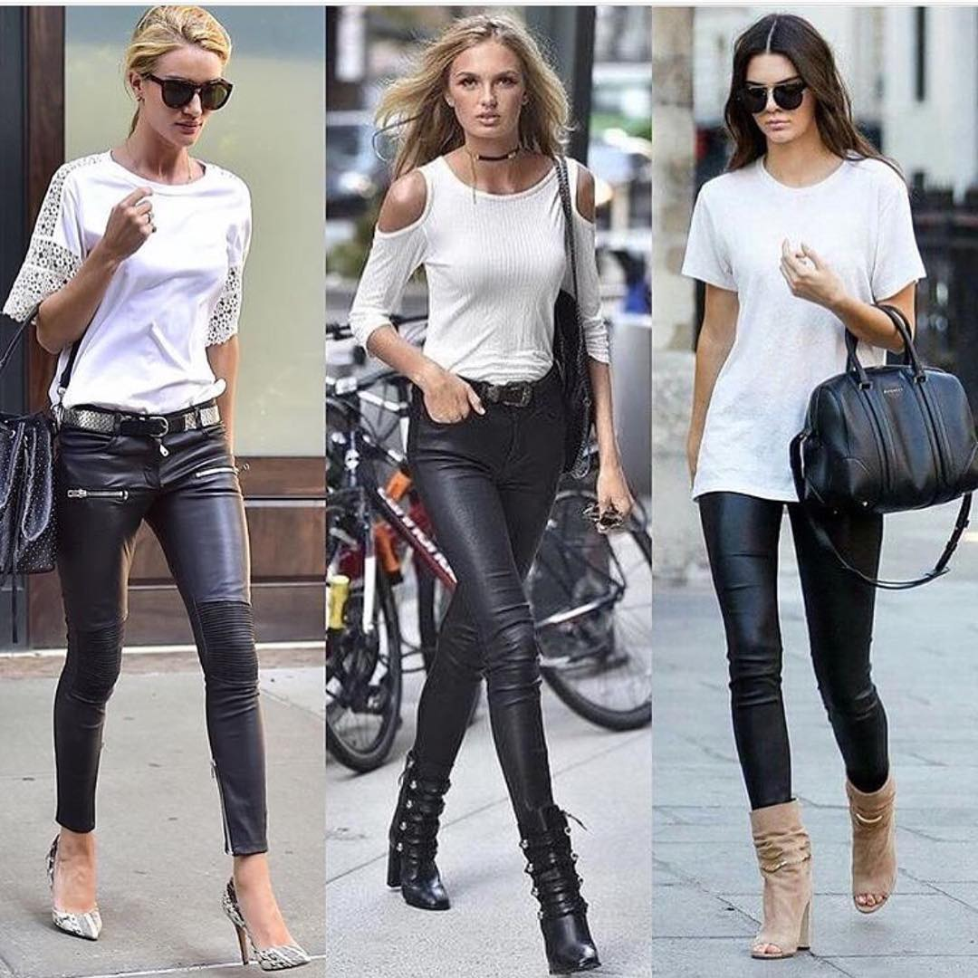 Monochrome Outfit Ideas With Black Leather Skinny Pants For Summer 2019