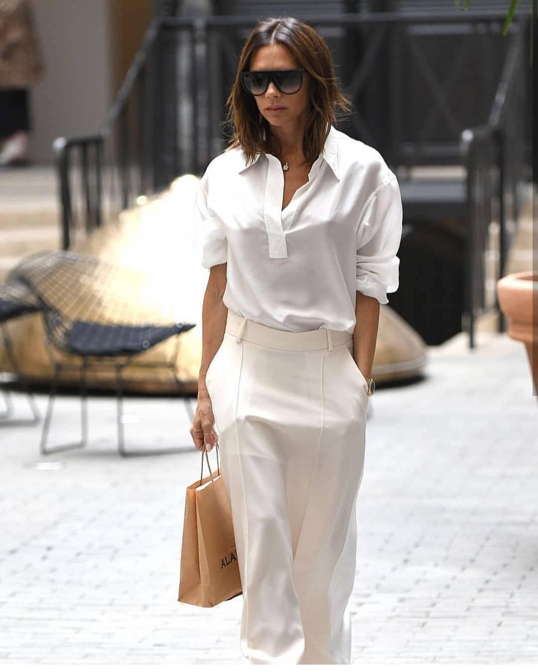All White Outfit Worn By Victoria Beckham For Summer 2019