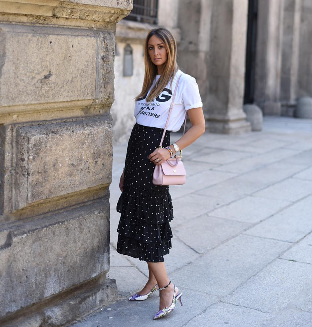 White T-Shirt And White Dotted Black Ruffled Midi Skirt For Summer 2019