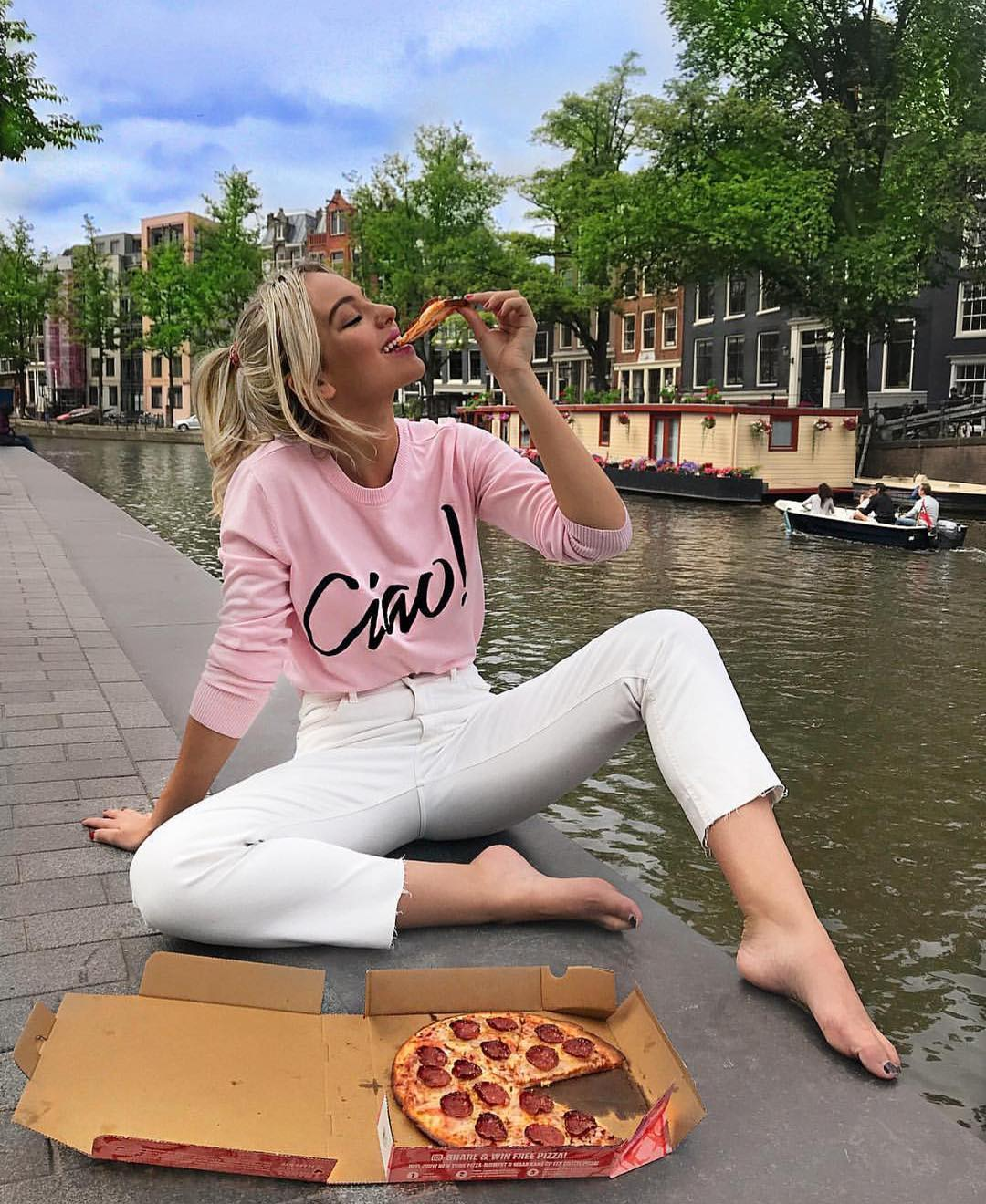 Long Sleeve Top In Pink And White Skinny Jeans For Summer 2020